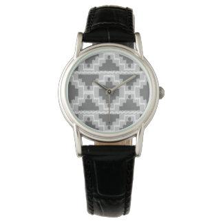 Ikat Aztec mönster - mörk och tänder - grå Armbandsur