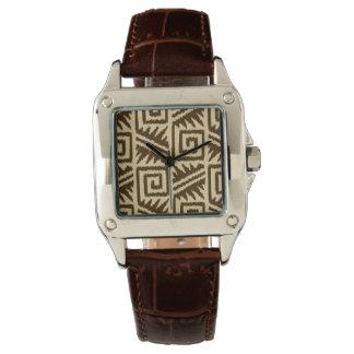 Ikat Aztec mönster - mörkbrunt och solbränna Armbandsur