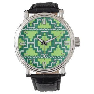 Ikat Aztec mönster - skog- och limefruktgrönt Armbandsur