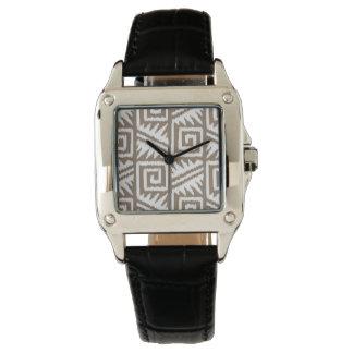 Ikat Aztec mönster - Taupesolbränna och kräm Armbandsur