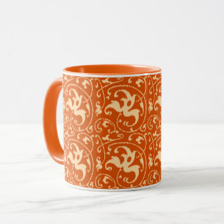 Ikat blom- damast - Mandarinorange Mugg