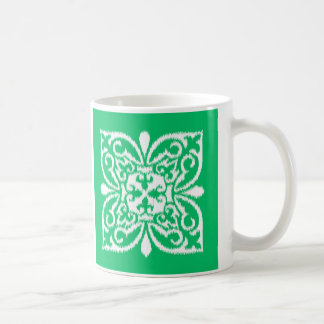 Ikat damastast mönster - jadegrönt och vit kaffemugg