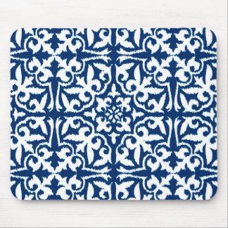 Ikat damastast mönster - koboltblått och vit musmatta