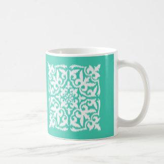 Ikat damastast mönster - turkos och vit kaffemugg