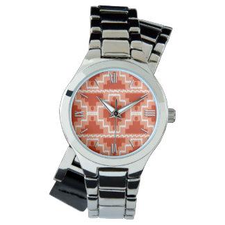 Ikat det Aztec mönster - rosta, orangen och vit Armbandsur