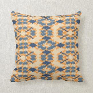 Ikat mönsterblått och melon kudde