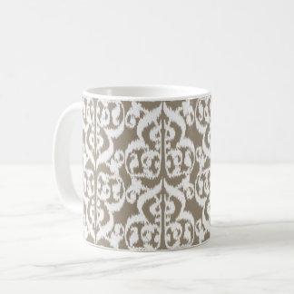 Ikat Moorishdamast - taupesolbränna och vit Kaffemugg