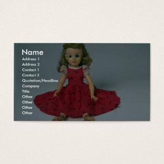 Iklätt rött för flickadocka visitkort