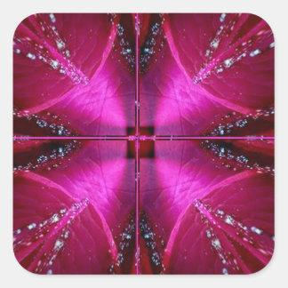 Ila enkla diagram - röd n rosa ros för gnistra fyrkantigt klistermärke