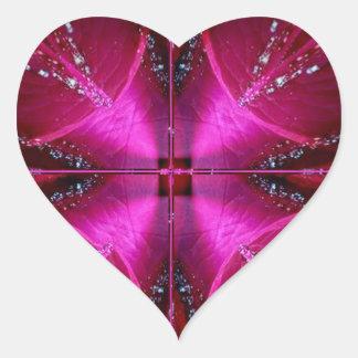 Ila enkla diagram - röd n rosa ros för gnistra hjärtformat klistermärke