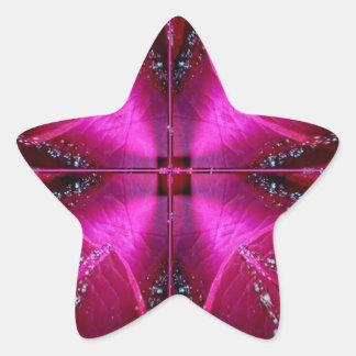 Ila enkla diagram - röd n rosa ros för gnistra stjärnformat klistermärke