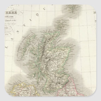 Iles Britanniques - brittiska Isles Fyrkantigt Klistermärke