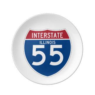 Illinois IL I-55 skyddar den Interstate huvudvägen Porslinstallrik