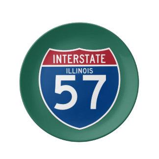 Illinois IL I-57 skyddar den Interstate huvudvägen Porslinstallrik