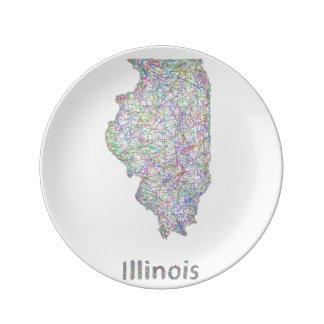 Illinois karta porslinstallrik