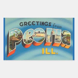 Illinois lakan av 4 Peoria klistermärkear Rektangulärt Klistermärke