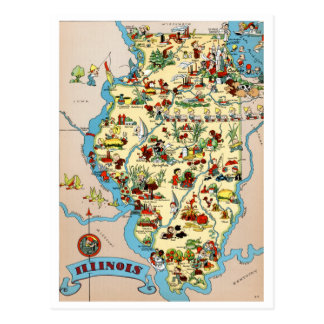 Illinois rolig vintagekarta vykort