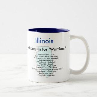 Illinois symboler & karta Två-Tonad mugg