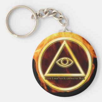 Illuminati avfyrar på rund nyckelring