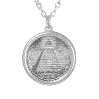 illuminati logo silverpläterat halsband