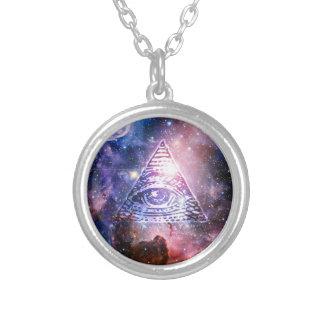 Illuminati nebula halsband med rund hängsmycke