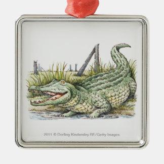 Illustration av alligatorn på kusten julgransprydnad metall