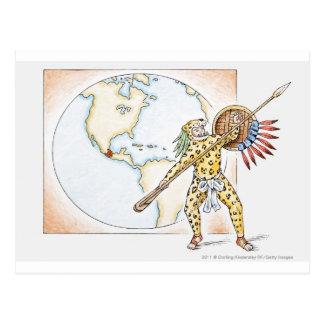 Illustration av den Aztec jaguarkrigare Vykort