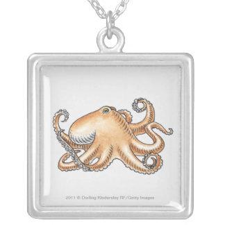 Illustration av en bläckfisk silverpläterat halsband