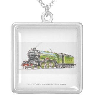 Illustration av flygskottetåg silverpläterat halsband