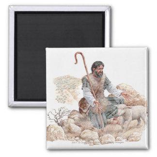 Illustration av herden som finner hans borttappada magnet