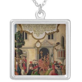 Illustration av Kristus undervisning Silverpläterat Halsband