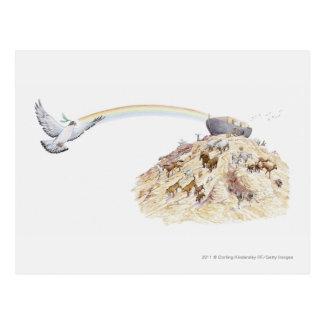 Illustration av Noahs ark med att lämna för djur Vykort
