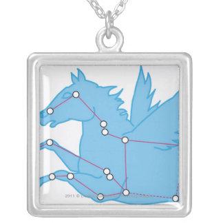 Illustration av Pegasus konstellation Silverpläterat Halsband