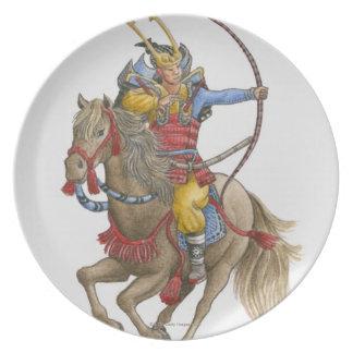 Illustration av samuraien på hållande pilbåge för tallrik