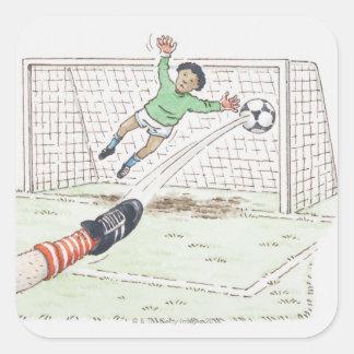 Illustration av spelare fot som sparkar fotboll fyrkantiga klistermärken