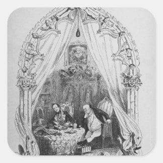"""Illustration """"det Pickwick papper av Charles Fyrkantigt Klistermärke"""