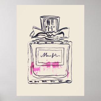 Illustration för akvarell för parfymflaskamode poster
