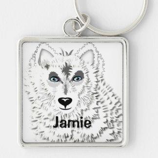 Illustration för djur för vitvargvild fyrkantig silverfärgad nyckelring