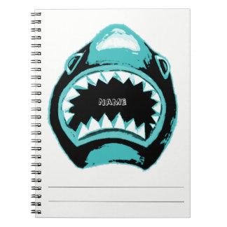 Illustration för hajvattenfärggrönt anteckningsbok med spiral