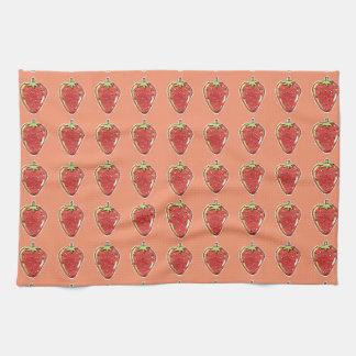 illustration för jordgubbetecknadstil kökshandduk