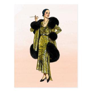Illustration för mode för vintageHollywood Couture Vykort