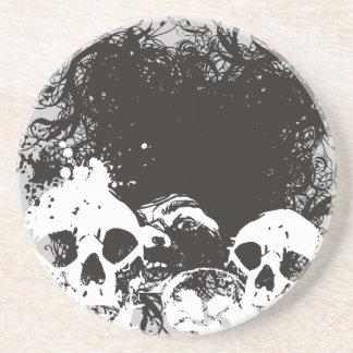 Illustration för svart- & vitGrungedöskallar Underlägg För Glas