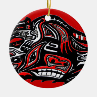 Illustration för utter för indianHaidakonst Rund Julgransprydnad I Keramik