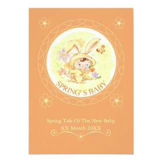 Illustration för vårnyfödd bebiskanin 12,7 x 17,8 cm inbjudningskort