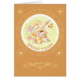 Illustration för vårnyfödd bebiskanin hälsningskort