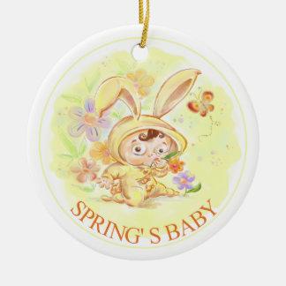 Illustration för vårnyfödd bebiskanin julgransprydnad keramik