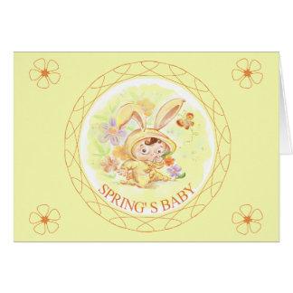 Illustration för vårnyfödd bebiskanin OBS kort