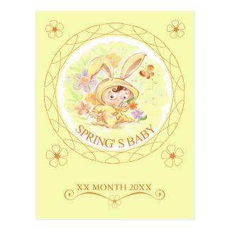 Illustration för vårnyfödd bebiskanin vykort