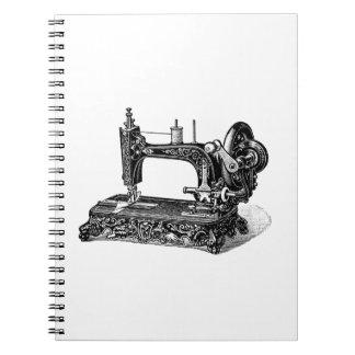 Illustration för vintage1800ssymaskin anteckningsbok