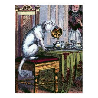 Illustration för vintage för kissekattdanandeTea Vykort